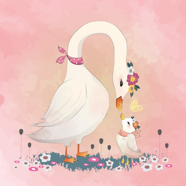 Love maman goose à son enfant Vecteur Premium