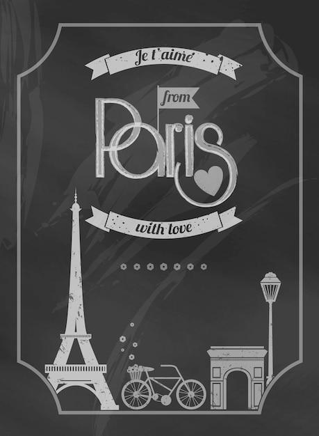 Love paris affiche rétro de tableau avec tour eiffel et vélo Vecteur gratuit
