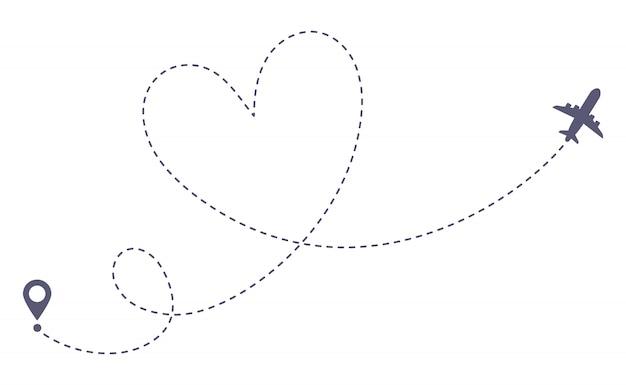 Love route d'avion. voyage romantique, tracé en trait pointillé de coeur et illustration de routes avion isolé Vecteur Premium