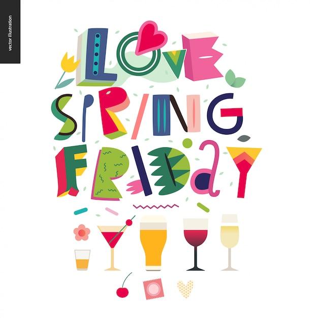 Love spring vendredi - composition du lettrage Vecteur Premium