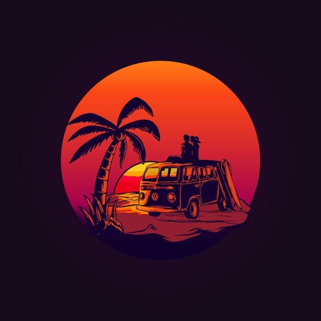Love Van Volkswagen Sur Sunset Vecteur Premium