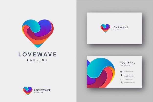 Love wave logo et carte de visite Vecteur Premium