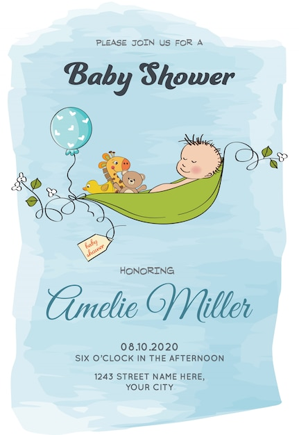 Lovely baby boy shower card template Vecteur gratuit