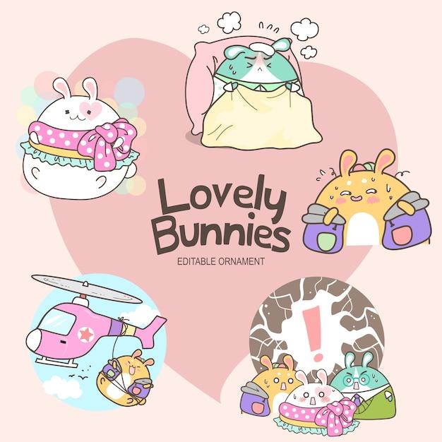 Lovely bunnies anna Vecteur Premium