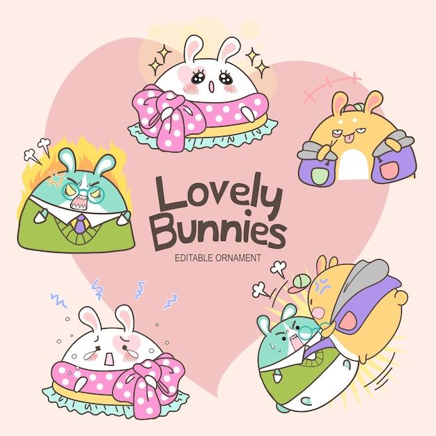 Lovely bunnies donna Vecteur Premium
