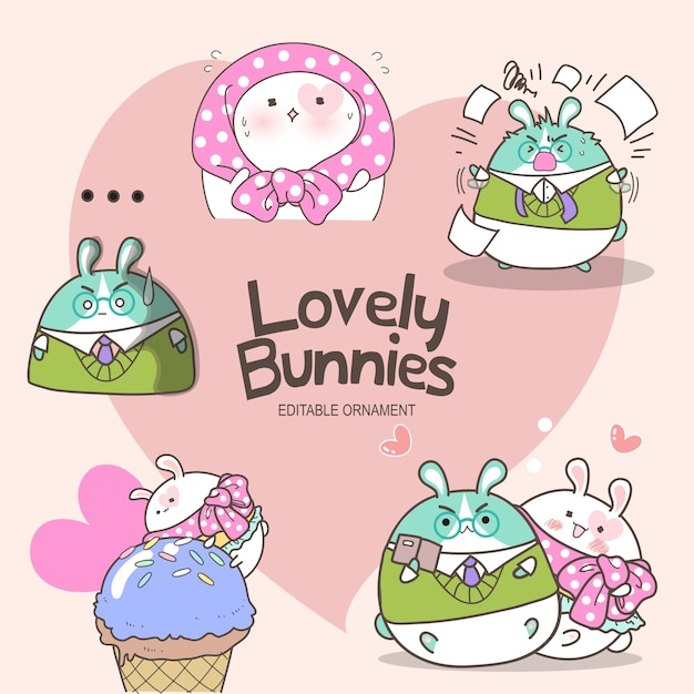 Lovely bunnies lily Vecteur Premium