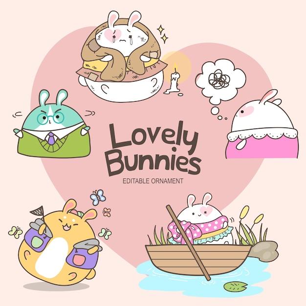 Lovely bunnies mizu Vecteur Premium