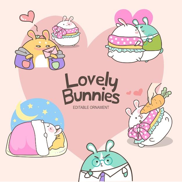 Lovely bunnies sally Vecteur Premium