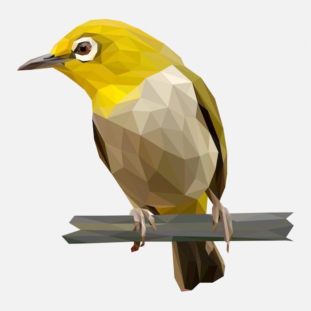 Lowpoly de l'oiseau jaune Vecteur Premium
