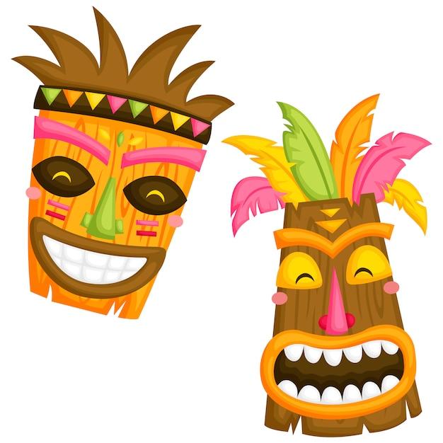 Luau masques Vecteur Premium