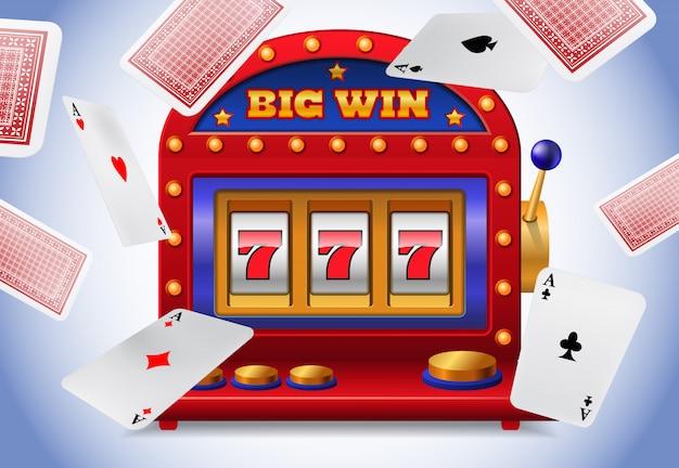 Lucky sept machine à sous et voler des cartes à jouer. Publicité d'entreprise de casino Vecteur gratuit