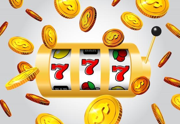 Lucky sept machine à sous et battant des pièces d'or sur fond gris. Vecteur gratuit