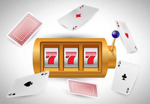 Lucky sept machines à sous et as de vol. publicité d'entreprise de casino Vecteur gratuit