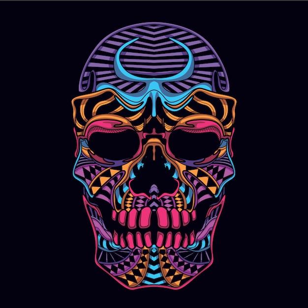 Lueur dans la tête de crâne décorative sombre Vecteur Premium