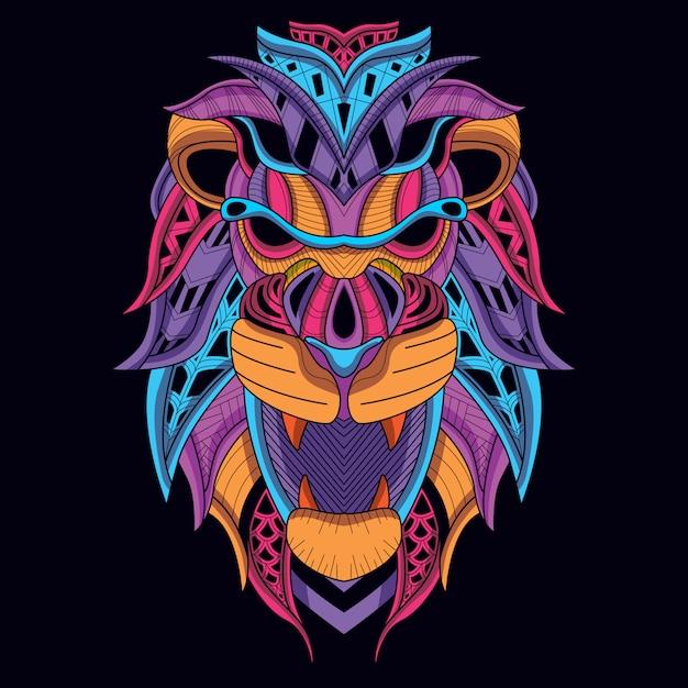 Lueur dans la tête de lion sombre avec une couleur néon décorative Vecteur Premium