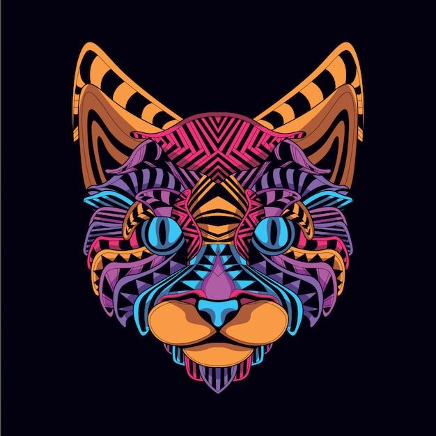 Lueur dans le visage de chat décoratif sombre Vecteur Premium
