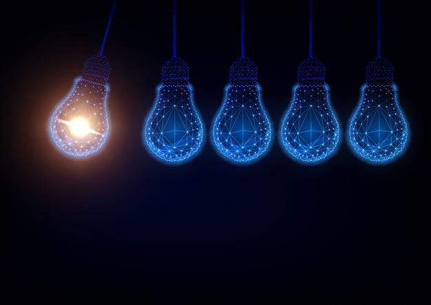 Lueur low poly ampoules formant newton berceau fond Vecteur Premium