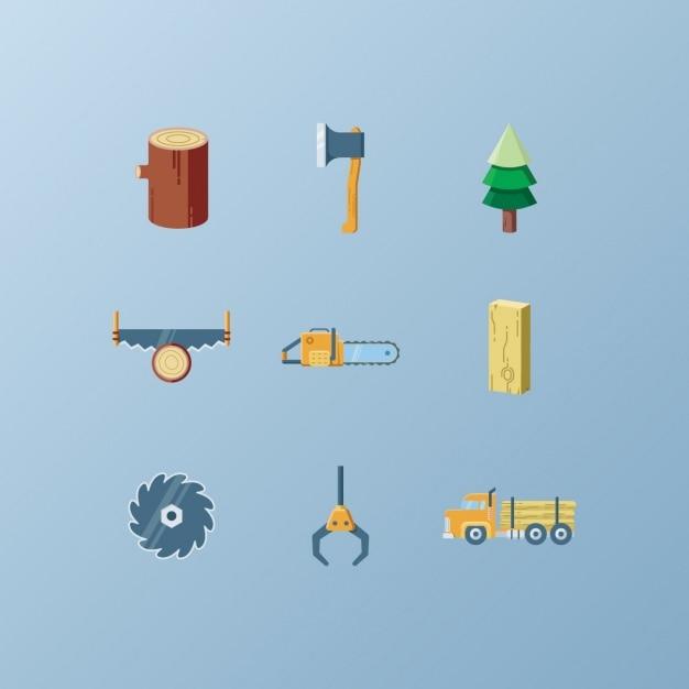 Lumberjack icônes collection Vecteur gratuit