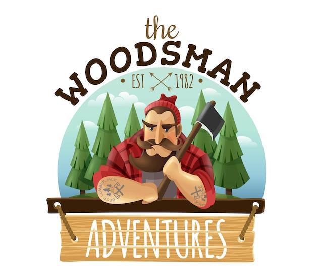 Lumberjack Woodsman Adventures Logo Icône Vecteur gratuit