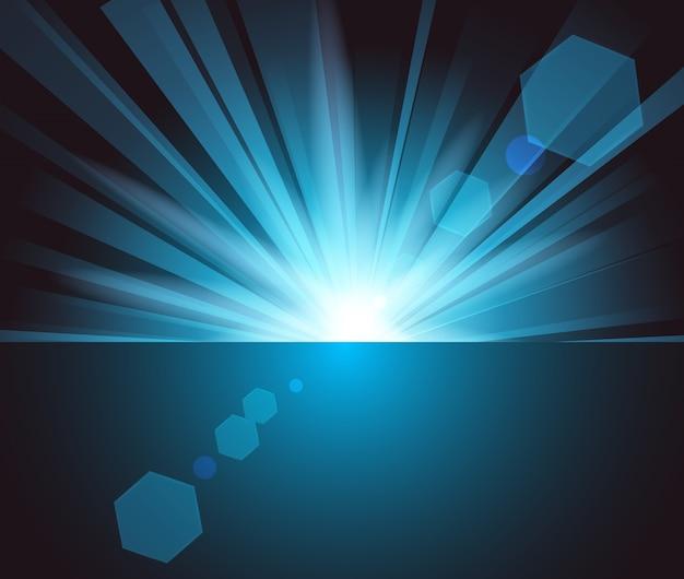 Lumière Bleue Illuminée Dans L'obscurité Vecteur Premium