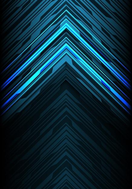 Lumière bleue noire ligne flèche direction fond futuriste. Vecteur Premium