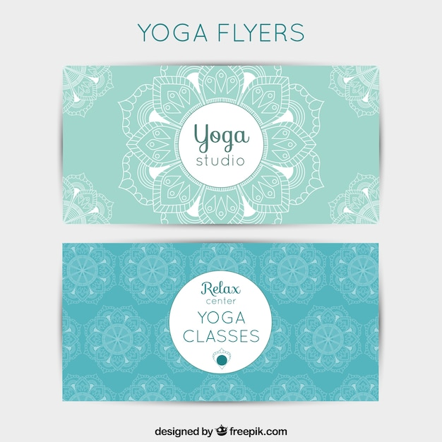Lumière Flyers de yoga bleu Vecteur gratuit