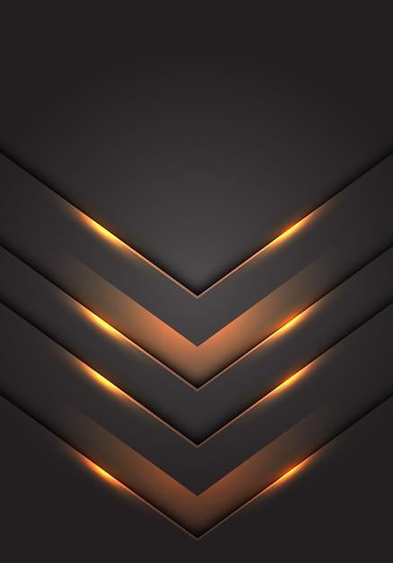 Lumière jaune fond de direction 3d flèche direction gris foncé espace vide. Vecteur Premium