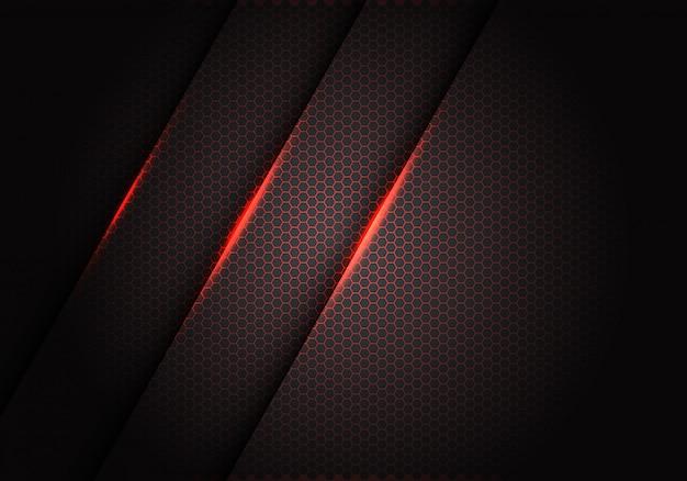 Lumière rouge sur le motif de maille hexagonale sur fond métallique gris foncé. Vecteur Premium
