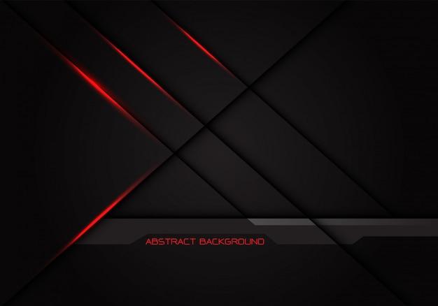 Lumière rouge traverse l'ombre de la ligne sur fond gris foncé. Vecteur Premium