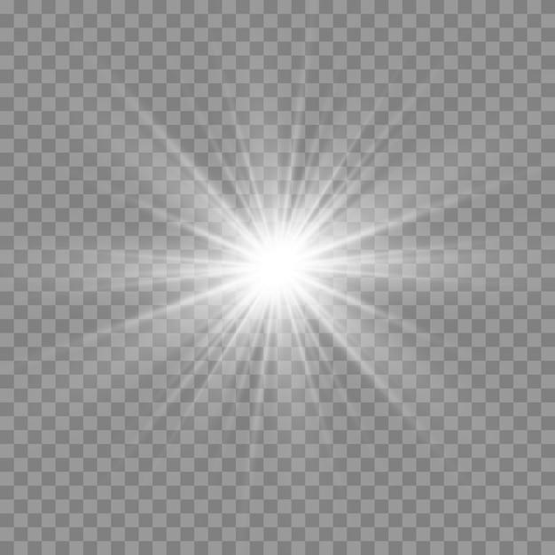 Lumière Rougeoyante Blanche. Belle étoile Lumière Des Rayons. Soleil Avec Lumière Parasite. Belle étoile Brillante. Vecteur Premium