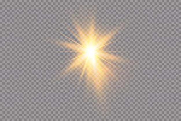 Une Lumière Rougeoyante Blanche Explose Sur Un Fond Transparent. Avec Ray. Soleil Brillant Transparent, Flash Lumineux. Le Centre D'un Flash Lumineux. Vecteur Premium