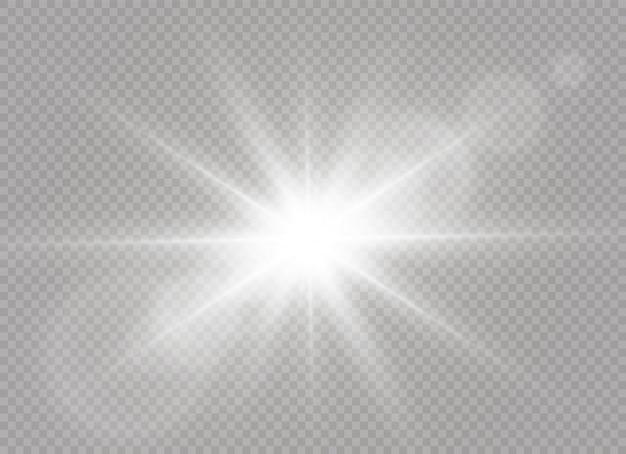 Une Lumière Rougeoyante Explose Sur Un Fond Transparent. étoile Brillante. Soleil Brillant Transparent, Flash Lumineux. Vecteur Premium