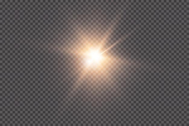 Une Lumière Rougeoyante Explose Sur Un Fond Transparent. Avec Ray. Soleil Brillant Transparent, Flash Lumineux. Le Centre D'un Flash Lumineux. Vecteur Premium