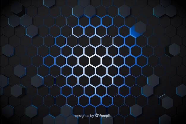 Lumières bleues technologiques de fond en nid d'abeille Vecteur gratuit