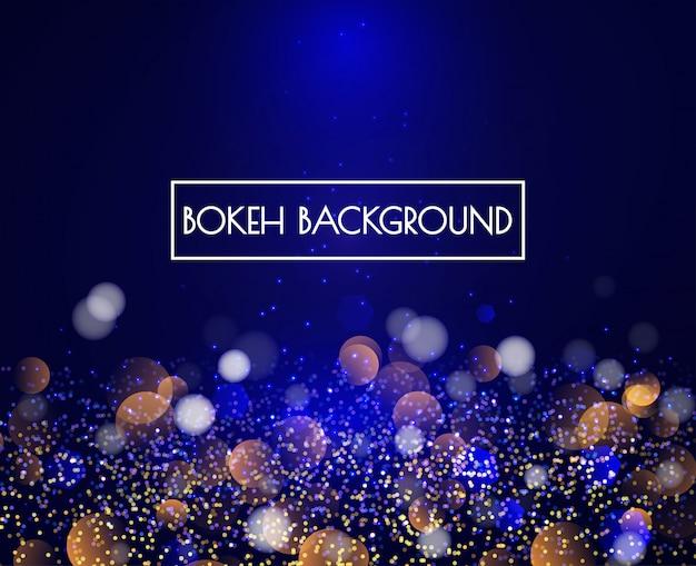 Lumières de bokeh bleu et fond de paillettes vecteur Vecteur Premium