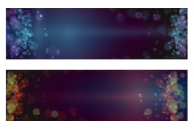 Lumières de bokeh fond défocalisé de noël Vecteur Premium