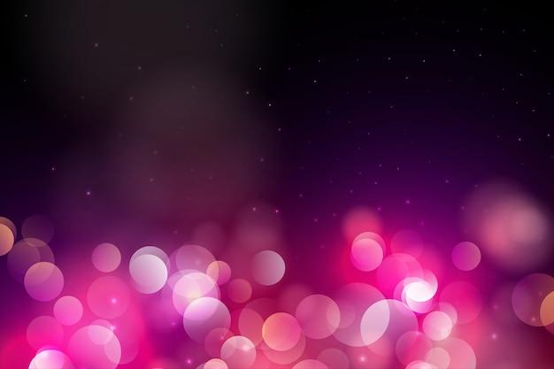 Lumières de bokeh et fond de paillettes Vecteur Premium