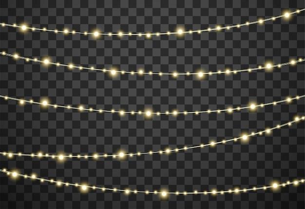 Lumières de noël sur fond transparent Vecteur Premium