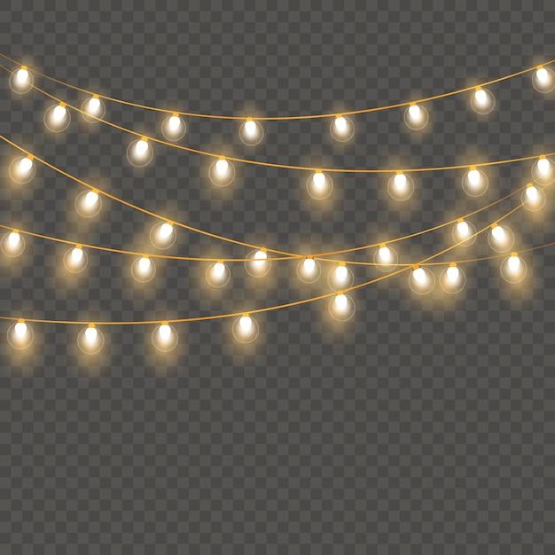 Lumières De Noël Isolées Vecteur Premium