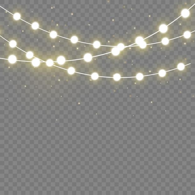 Lumières De Noël Isolés Des éléments Réalistes. Lumières Incandescentes Pour Les Vacances De Noël.lampe Néon à Led Vecteur Premium