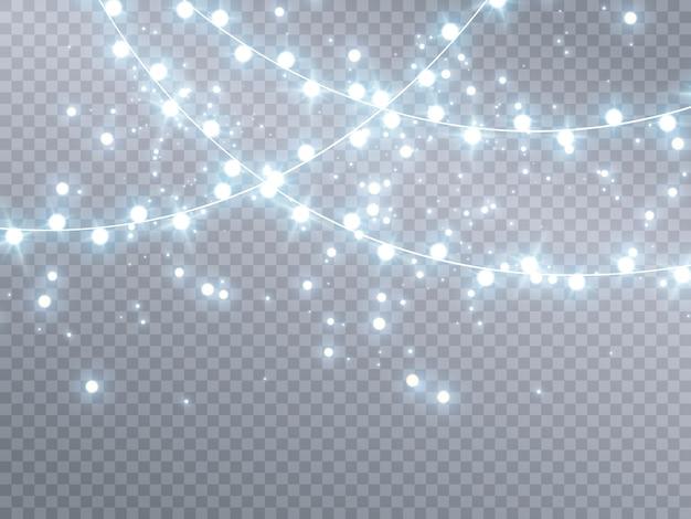 Lumières De Noël Isolés Sur Fond Transparent Vecteur Premium