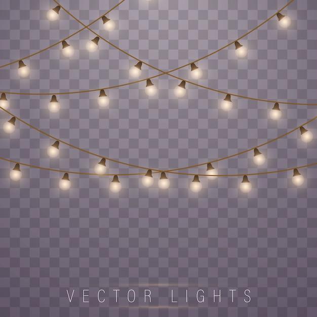 Lumières De Noël. Lampe Néon à Led. Lumières Incandescentes. Vecteur Premium