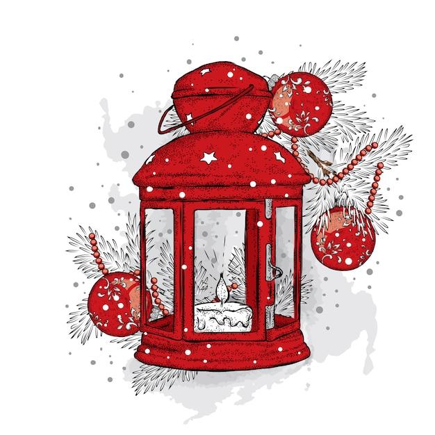 Lumières De Noël Vintage Et Arbre De Noël Avec Des Boules. Illustration Pour Une Carte Ou Une Affiche. Nouvel An Et Noël. Hiver. Belle Lumière. Vecteur Premium