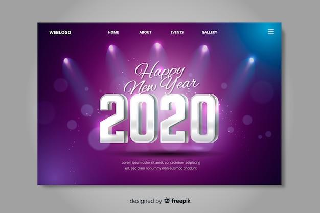 Lumières de la page d'atterrissage du nouvel an 2020 Vecteur gratuit