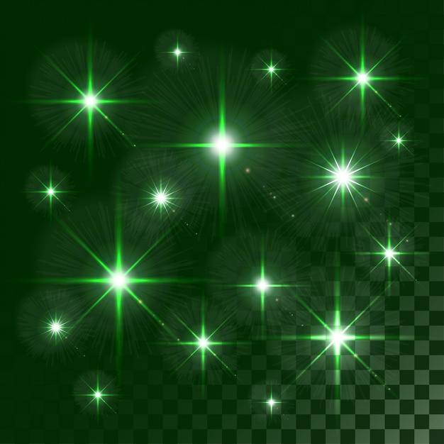 Lumières Rougeoyantes Et étoiles Isolées Sur Transparent Coloré Vecteur Premium