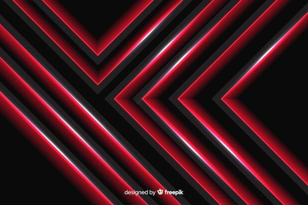 Lumières rouges géométriques organisées avec des lignes Vecteur gratuit