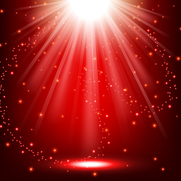Lumières rouges qui brille Vecteur Premium