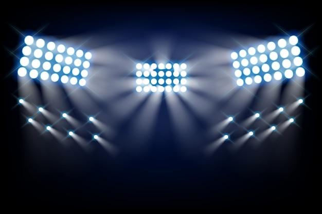 Lumières vives du stade vue de face Vecteur gratuit
