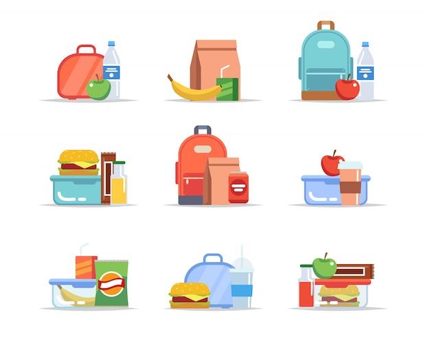 Lunchbox - Différents Types De Déjeuners, Repas Scolaires Et Collations, Plateaux-repas Pour Enfants Vecteur Premium