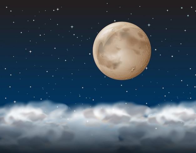 Une lune au dessus du nuage Vecteur Premium